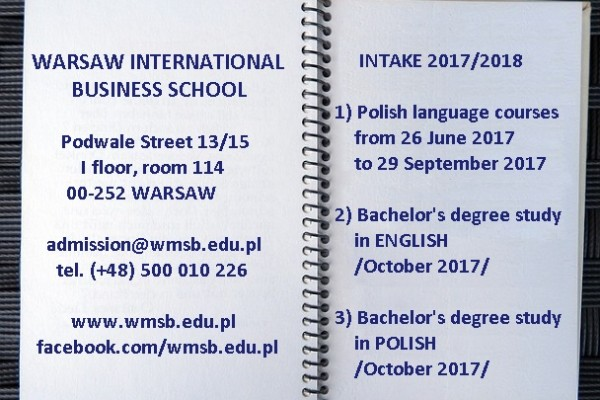 Welcome to Warsaw International Business School. Apply for the academic year 017/2018 intake.